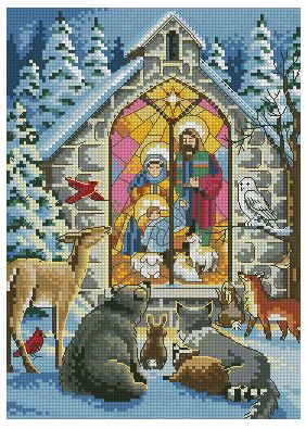 Winter Nativity Cross Stitch