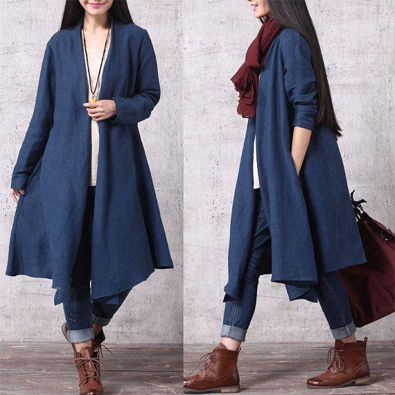 Casual raccord lâche Long manches coton et lin Blouse longue ouverte - vêtements de plein air trench-coat - femmes Top(SY013)