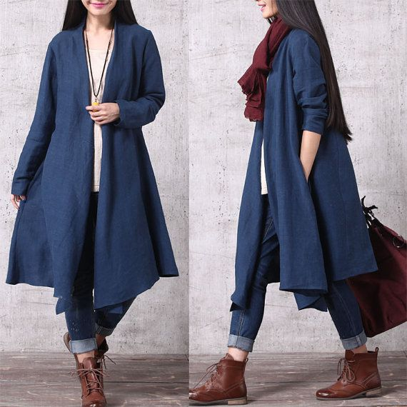 Casual Loose Fitting Long Sleeved Cotton and Linen Long Open Blouse - Trench Coat  Outerwear - Women Top(SY013)