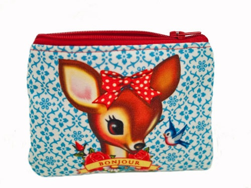 a sweet litlle wallet with a head of a deer
