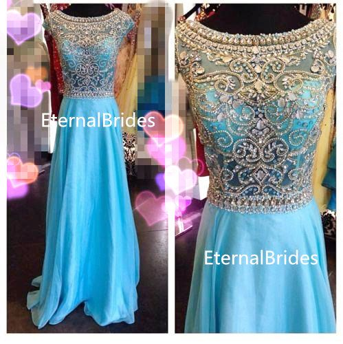 Turquoise Prom Dress/Champagne Formal Dress/floor length evening dress/cap sleeves/illusion neckline V back wedding dress on Etsy, $125.00