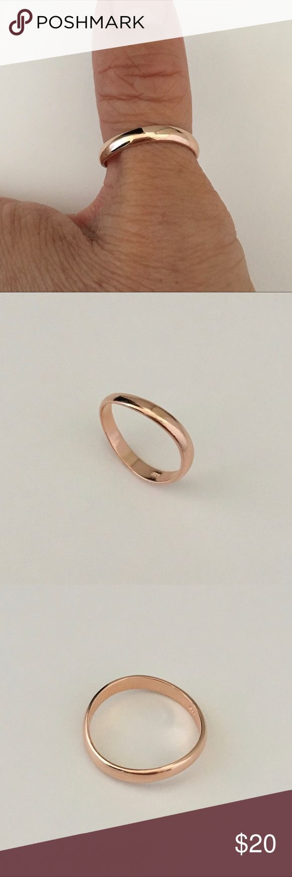Rose Gold Plated Sterling Silver Thumb Ring Rose Gold Plated Sterling Silver 3mm Thumb Ring, Pinky Ring, Midi Ring, Index Ring, Thumb Ring, 925 Sterling Silver, Stackable Ring, Band Width 3mm Jewelry Rings