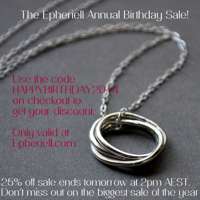 Epheriell is OPEN – And it's Time for the Annual Birthday Sale! (25% off - 24 hours only…)