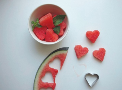 water melon hearts with mint