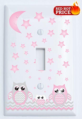 #babydecor Our #Grey and #Pink Owl Light Switch Plates / Electric Outlet Covers have two Mom and Dad Owls with one baby owl in the center complete with grey chevr...