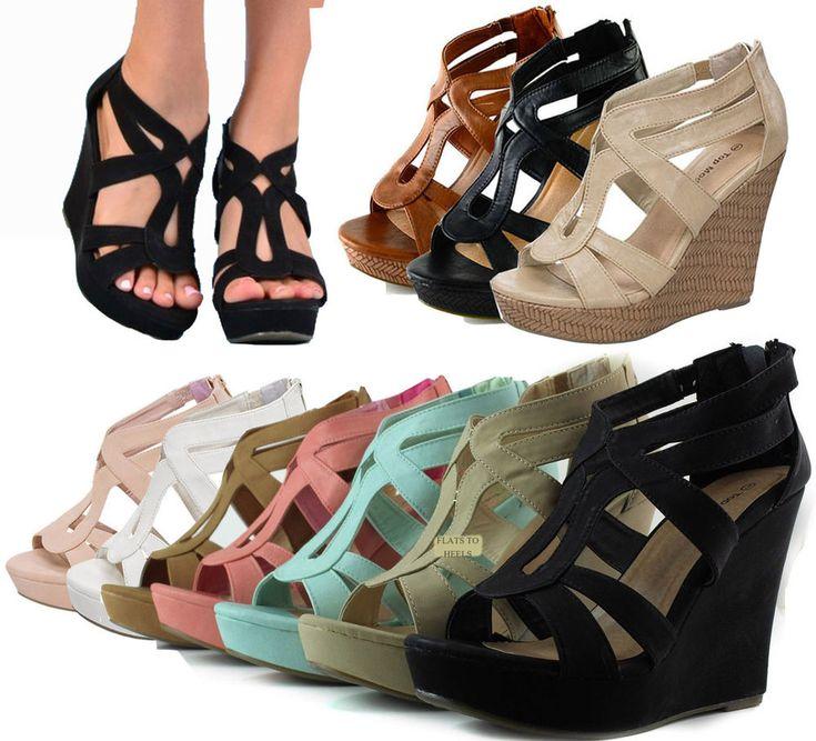 NEW Women High Heel Gladiator Wedge Sandal~Open Toe Stiletto ...