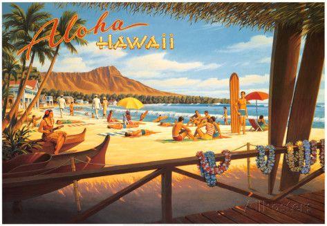Aloha Hawái Láminas por Kerne Erickson en AllPosters.es