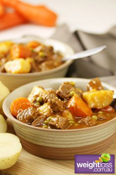 Slow Cooker Recipes: Beef Casserole. #HealthyRecipes #DietRecipes #WeightlossRecipes weightloss.com.au
