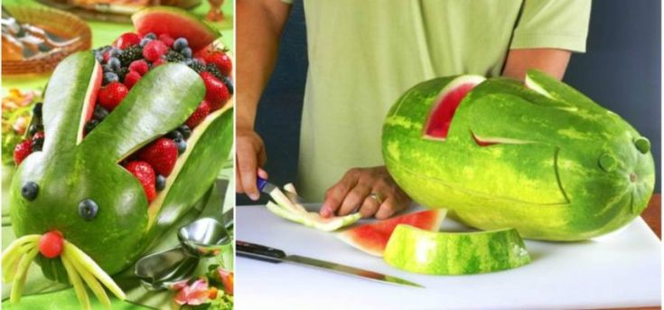 Watermelon Rabbit Collage.jpg | How To Carve Your Own Watermelon Easter Bunny
