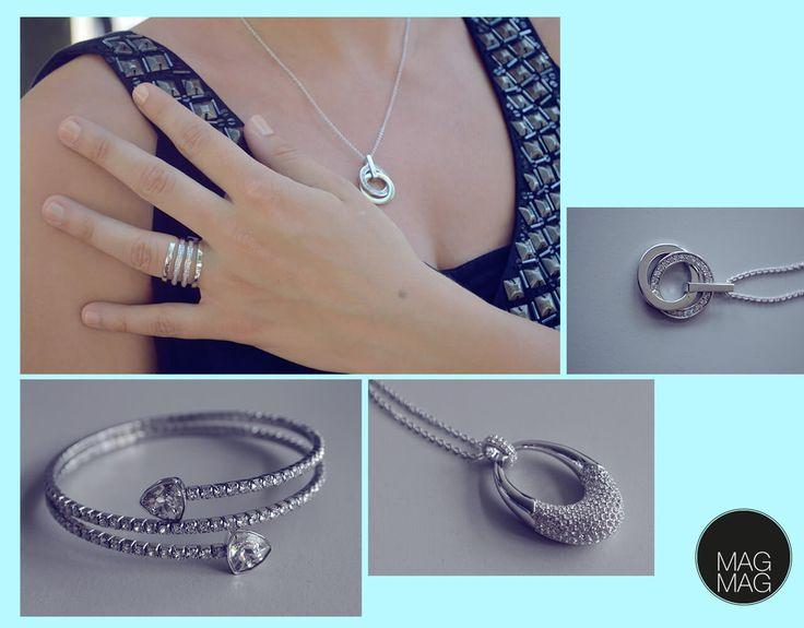 #Schmuckstückchen zum verlieben: #BlingBling #Armreifen mit viiiiel #Glitzer 59 Euro, #Kette 119 Euro (#Swarovski). Die mit zwei Ringen gefassst Kette (oben) und der Ring sind aus der Jette Joop-Kollektion von #Christ je 99 Euro   #AlleeCenterMagdeburg #MagMag