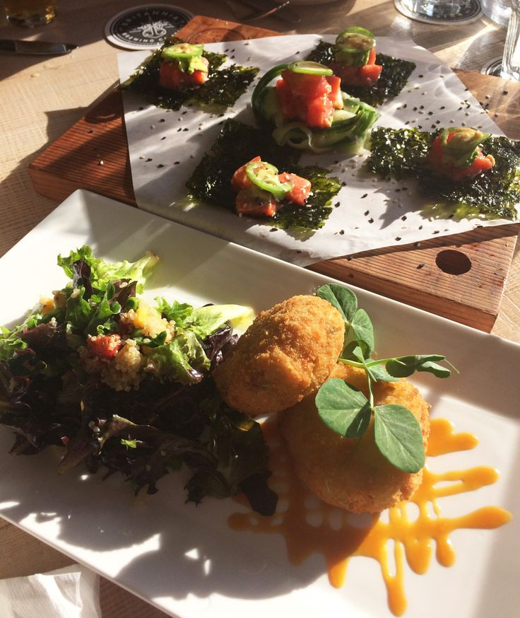 Salmon Poké board and crab cakes at Brittania Brewing Company from our Steveston village food crawl http://bit.ly/2pLBBDz