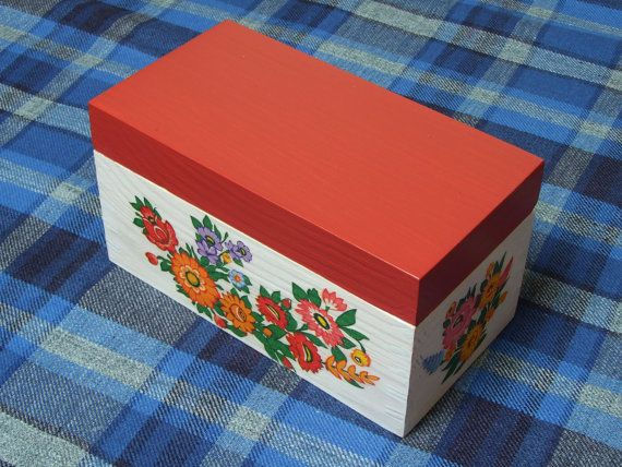 POLISH FOLK DESIGN - Lovely charming wooden box for tea ethno folk decoupage