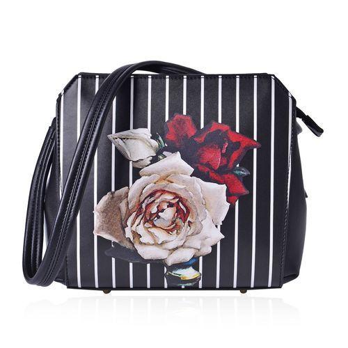 Multi Colour Floral and White Colour Stripe Pattern Black Colour Tote Bag with External Zipper Pocket (Size 24.5x22x12.5 Cm)
