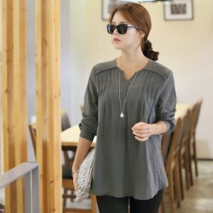 Republic of Korea reigning Women's Clothing Store [CANMART] China pin tuck blouse / Size : FREE / Price : 48.45 USD #blouse #gray #korea #fashion #style #fashionshop #apperal #koreashop #missy #canmart