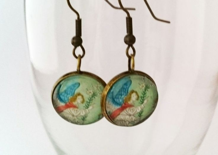 Postage stamp earrings angel antique style by Vintagestylecrafts on Etsy