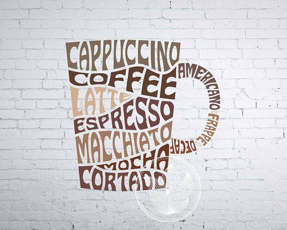 Digital Coffee Mug Word Art Coffee mug jpg png eps svg