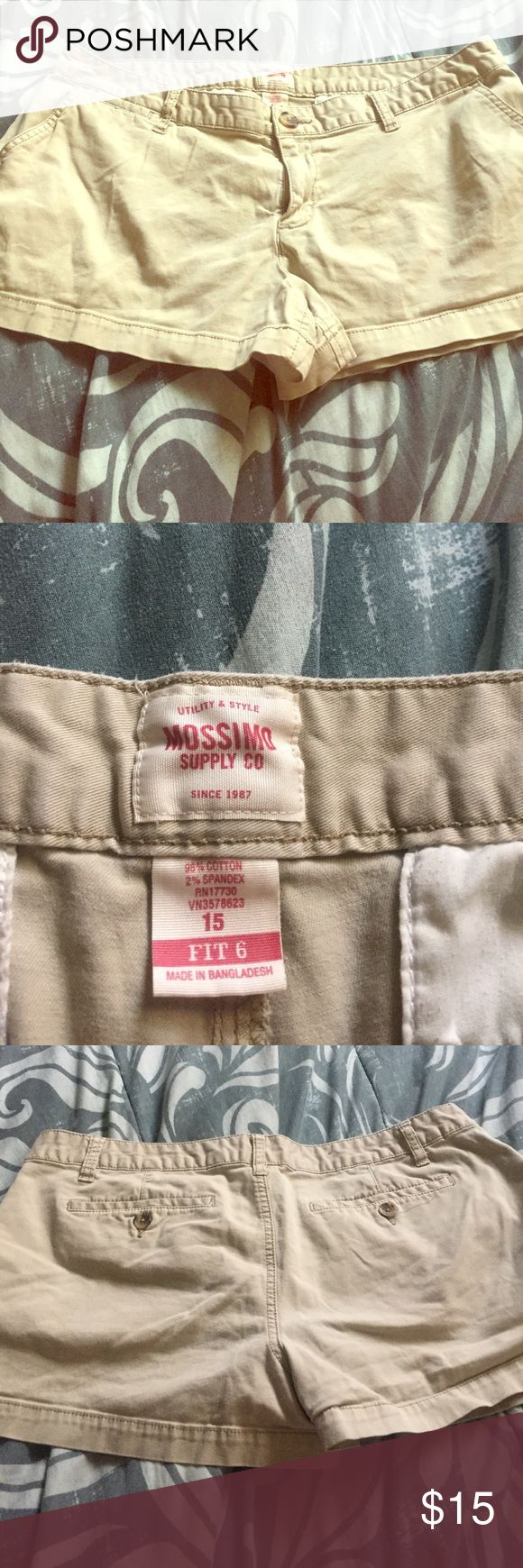 Mossimo Khaki shorts size 15.  (6?) Khaki pair of Mossimo shorts size 15, BUT the tag says FIT 6, I have no idea what that means, so if anyone does, please let me know. I know I wear between a 7-9,& they fall off me literally. Mossimo Supply Co Shorts