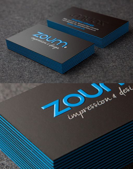 Zoum Business Cards with black and blue edges.  Sharp design!