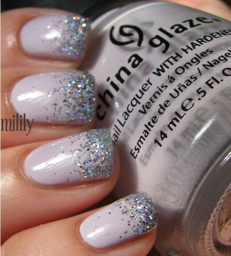ChG Light As Air w/ CC Sugarplum Fairy.: Lights Colors Nails Design, Cute Nails, China Glaze, Colors Club, Glitter Nails, Nails Ideas, Sugarplum Fairies, Nails Polish, Nails Art Design