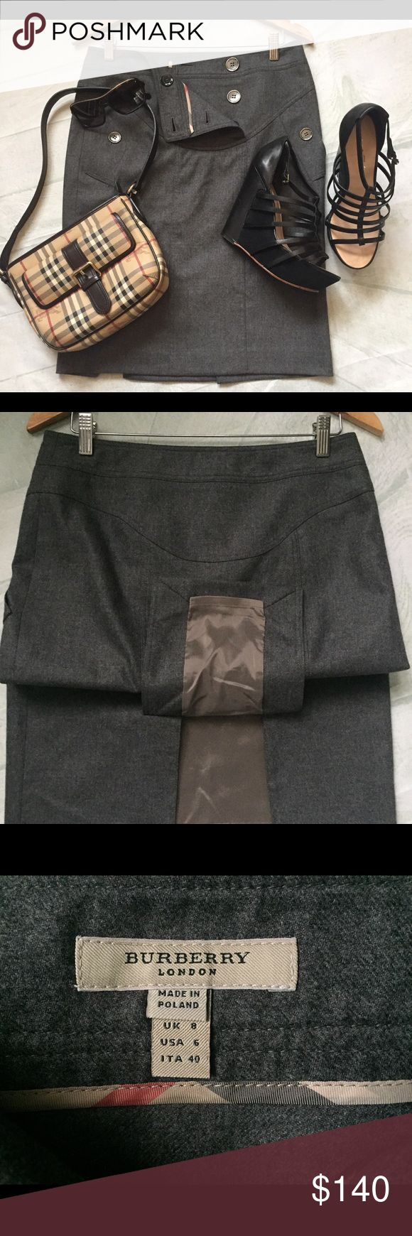 """Burberry London Wool Pencil Skirt Gray Authentic 6 Classy, Chic, Sophisticated!  Authentic Burberry London wool blend Pencil skirt, size US 8.  Very good condition, shows minor signs of wear, light piling and slightly wrinkled. Features: ✔️6 button double breasted front plank, Burberry logo stamped buttons in pewter tone ✔️seaming detail, side pockets, double slit back vent , fully lined ✔️measures: 16 """" across waist band, 19"""" across hip, 23"""" in length from waist to hem.  Offers welcome…"""