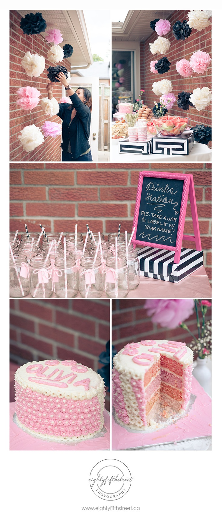A pink, black and white themed bridal shower!...@Jessica Raley wedding shower!