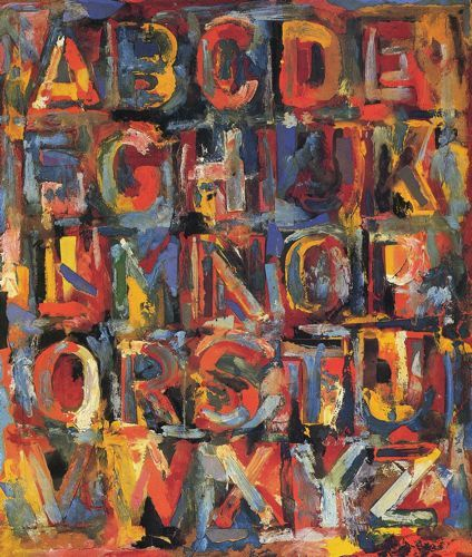 "Jasper Johns ""Colored Alphabet"" I like the look of the splotchy letters"