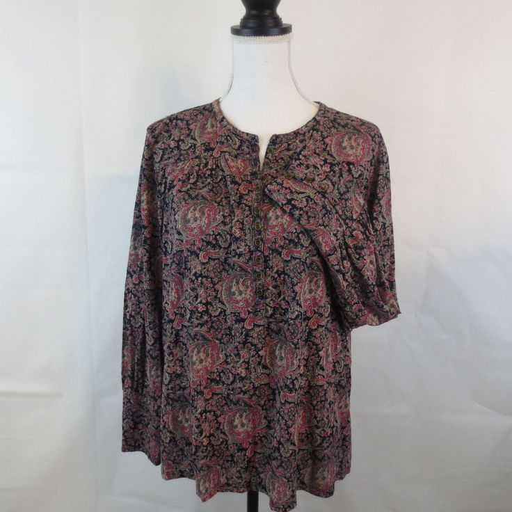 Lucky Brand Womens XL Multi-color Paisley Top Peasant Bohemian Shirt Blouse  #LuckyBrand #Blouse #Casual