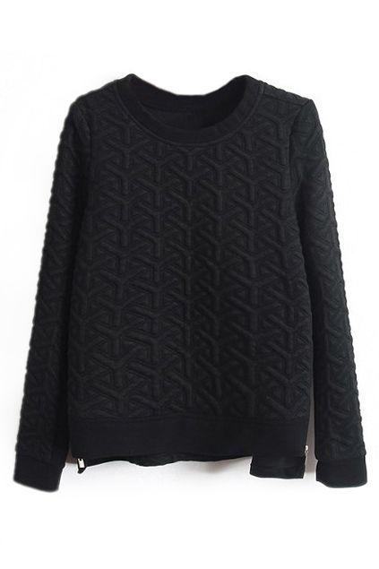 ROMWE | ROMWE Y Shaped Print Asymmetric Zippered Black Jumper, The Latest Street Fashion