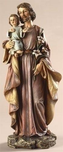 "St. Joseph Statue  $31.95  St. Joseph statue resin/stone mix 10""H x 4.25""W x 3.25""D."