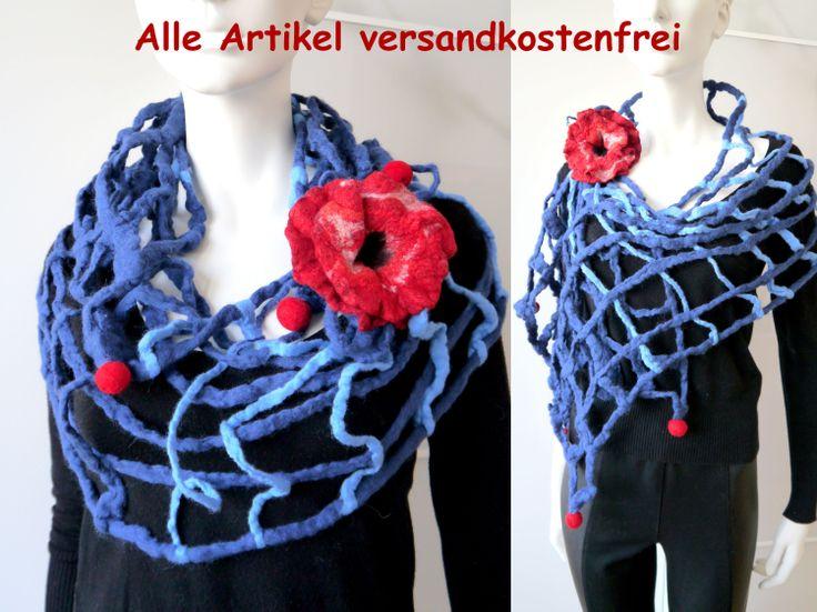 Schal, Filzschal aus Merinowolle und Seide, Handarbeit, Unikat, mit Brosche.
