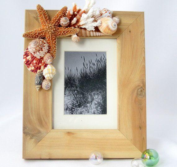 Beach Decor Seashell Frame - Nautical Natural Wood Frame w Shells & Starfish - 8x10
