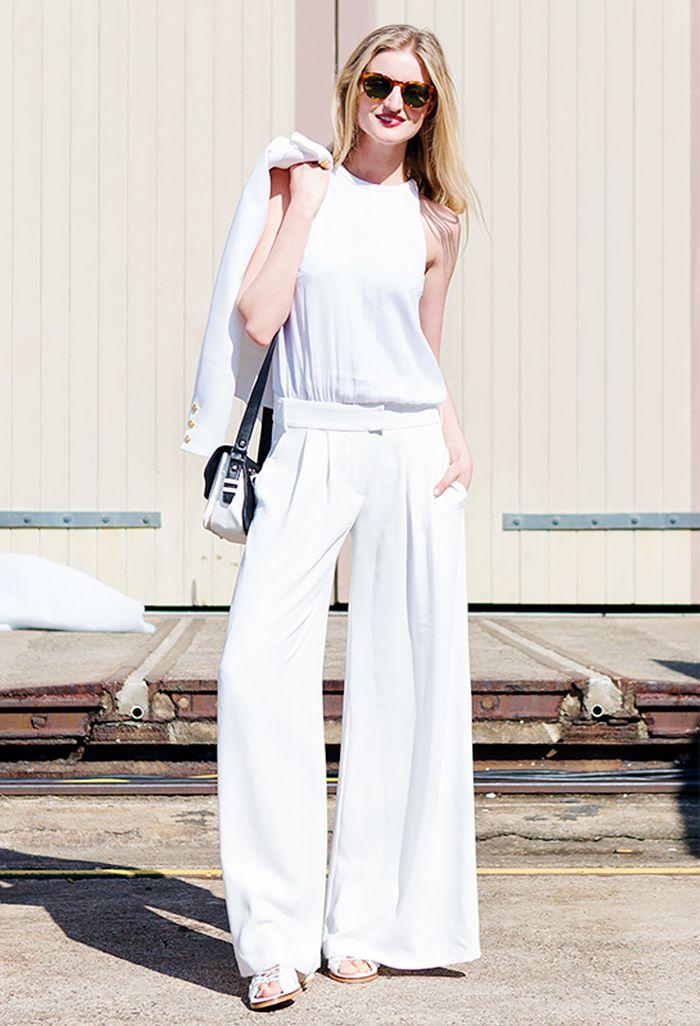 White tank top + white wide leg trousers