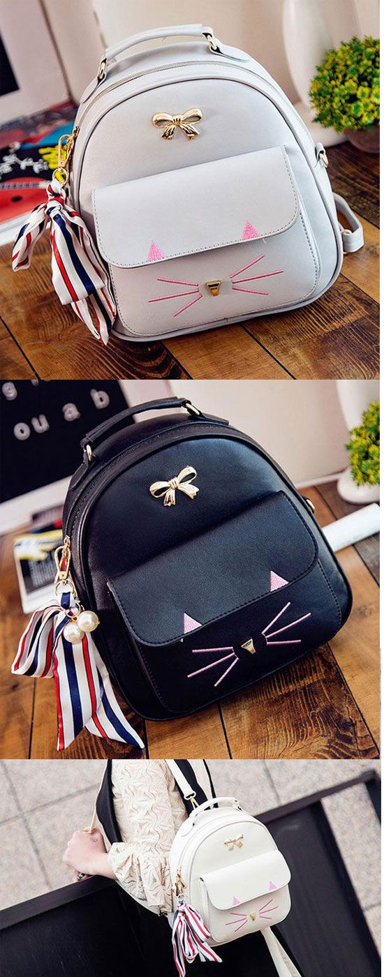 Cute Cat Embroidery Animal School Bag Cartoon Kitty Metal Bow College Backpack for my sister ! #kitty #Metal #bow #cartoon #kitten #cat #school #college #student #Bag #book #backpack #rucksacck #women #girl