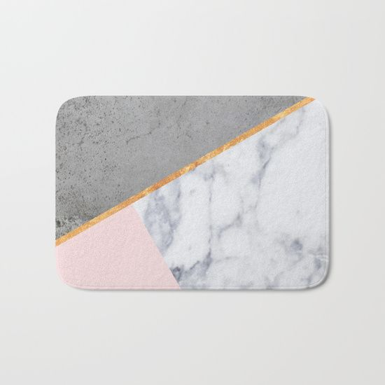 The perfect bath mats: fuzzy, foamy and finely enhanced with brilliant art. blush, marble, gold, brass, abstract, concrete, pink, rose, gray, geometry, geometric, Scandinavian, minimal, mid century , design, trend, white, fresh, modern, society6, print, tapestry, window curtains, home decor, interior design