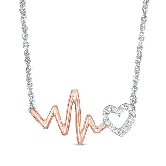 1 10 Ct T W Diamond Heartbeat And Heart Necklace In Sterling Silver And 10k Rose Gold 17 Zales Real Diamond Necklace Rose Gold Chain Necklace Heart Necklace