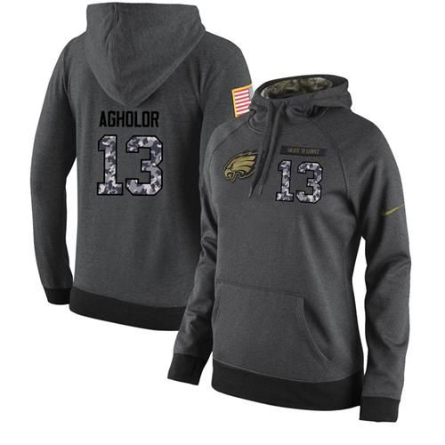 NFL Women's Nike Philadelphia Eagles #13 Nelson Agholor Stitched Black Anthracite Salute to Service Player Performance Hoodie