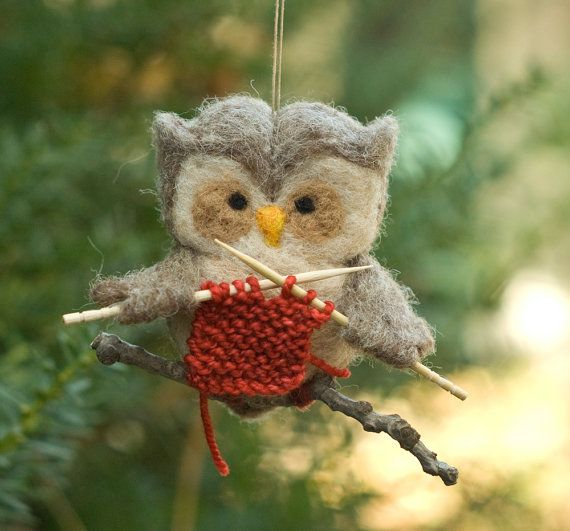 Needle Felted Owl Ornament - Knitting @kayleekruger