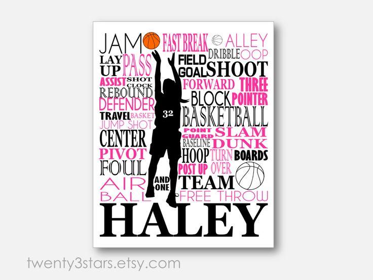 Girl's Basketball Typography Art Perfect Sporty by twenty3stars, $10.00