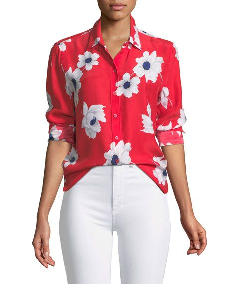 d728eb4c76a7ae Get free shipping on Equipment Leema Antiquity Floral-Print Silk Blouse at  Neiman Marcus. Shop the latest luxury fashions from top designers.