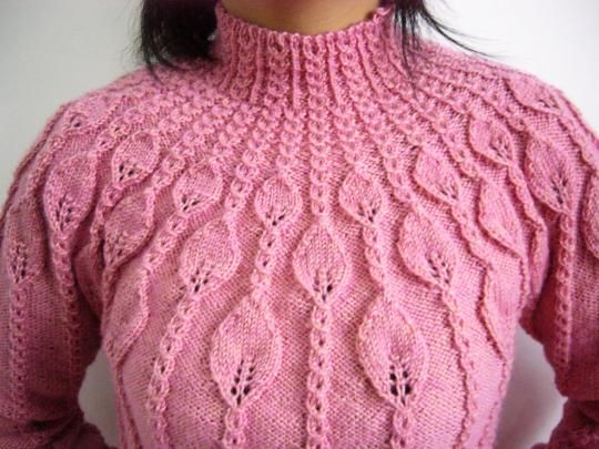 Leaf Sweater free knitting graph pattern