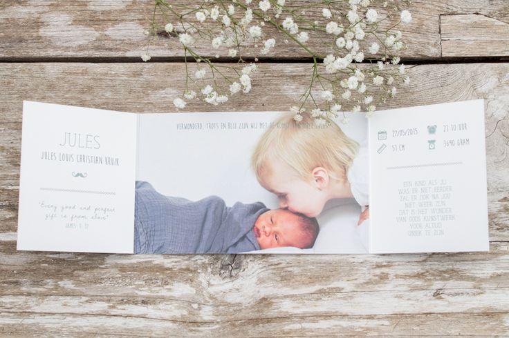 Geboortekaartje Jules - Ontwerp door Leesign - www.leesign.nl #geboortekaartje #mint #blauw #sterren #leesign #birthannouncement #anikalane #geboortekaart #jongen #babyboy