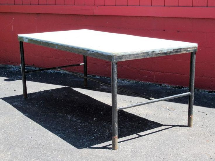 Antique American Industrial Factory Work Table 5