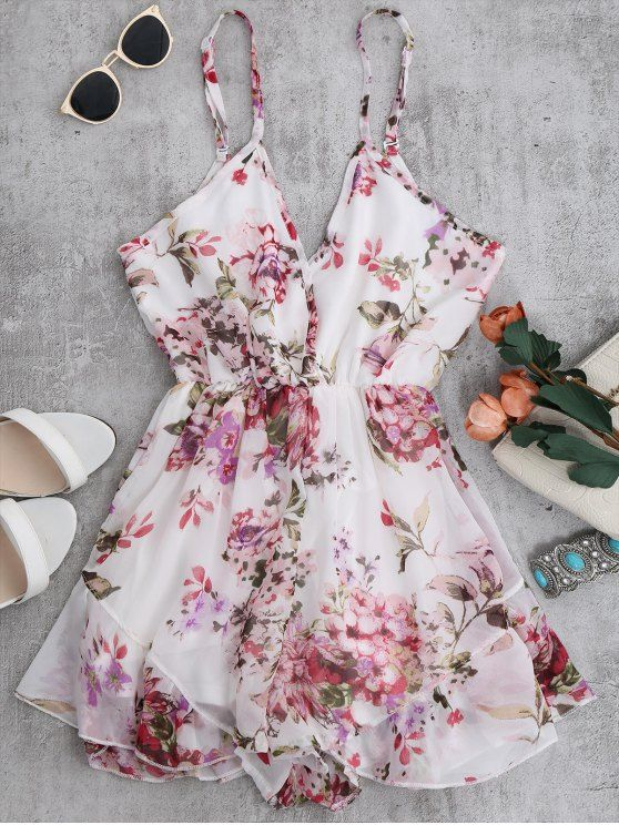 $15.99 Cami Floral Chiffon Holiday Romper - WHITE M