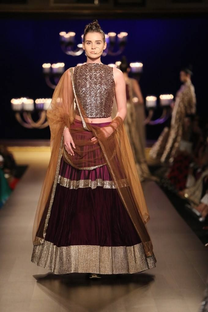 Manish Malhotra Burgundy #Lehenga For ICW 2014.