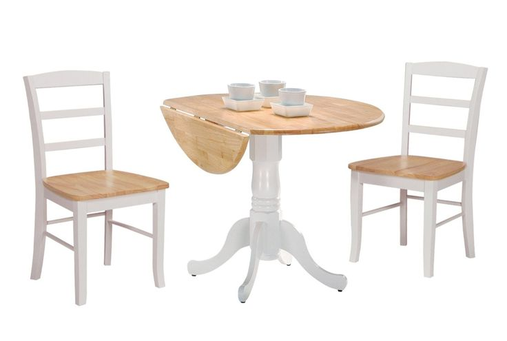 Amazon.com - International Concepts 42-Inch Dual Drop Leaf Table with 2 Ladder Back Chairs, Set of 3 - Breakfast Nook Table Set White Dropleaf