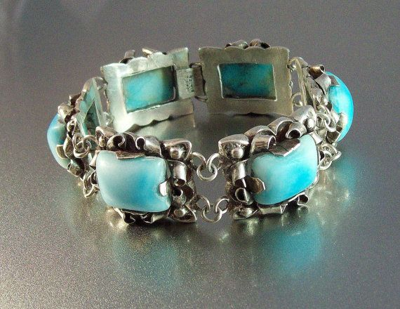 Mexican Sterling Larimar Bracelet Vintage Pre By Lynnhislopjewels 279 99 Antique Jewelry Group Board Pinterest Bracelets And