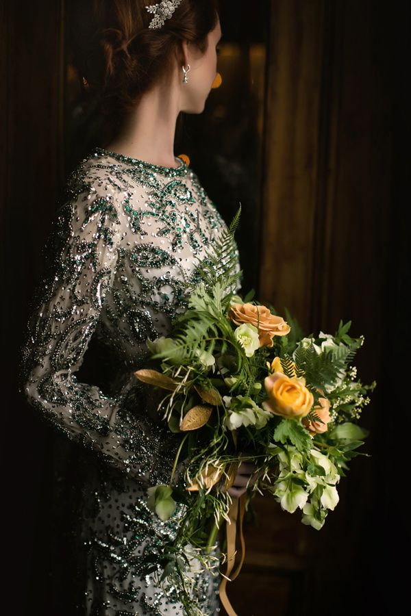 beaded green wedding dress - photo by Sarah Esther Photography http://ruffledblog.com/st-patricks-day-wedding-inspiration-at-a-pub #weddingdress #fashion #vintagedress