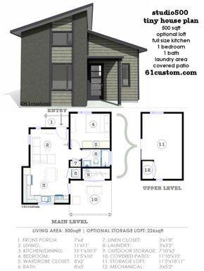 studio500 modern tiny house plan 61custom tiny house in 2019 rh pinterest com