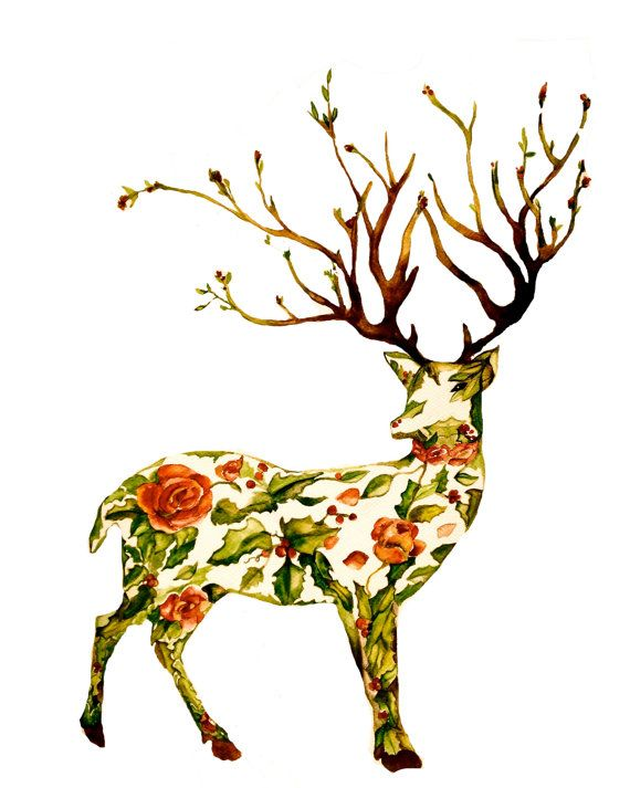 Watercolour stag with roses and holly print. The stag looks disproportioned but I love the design otherwise