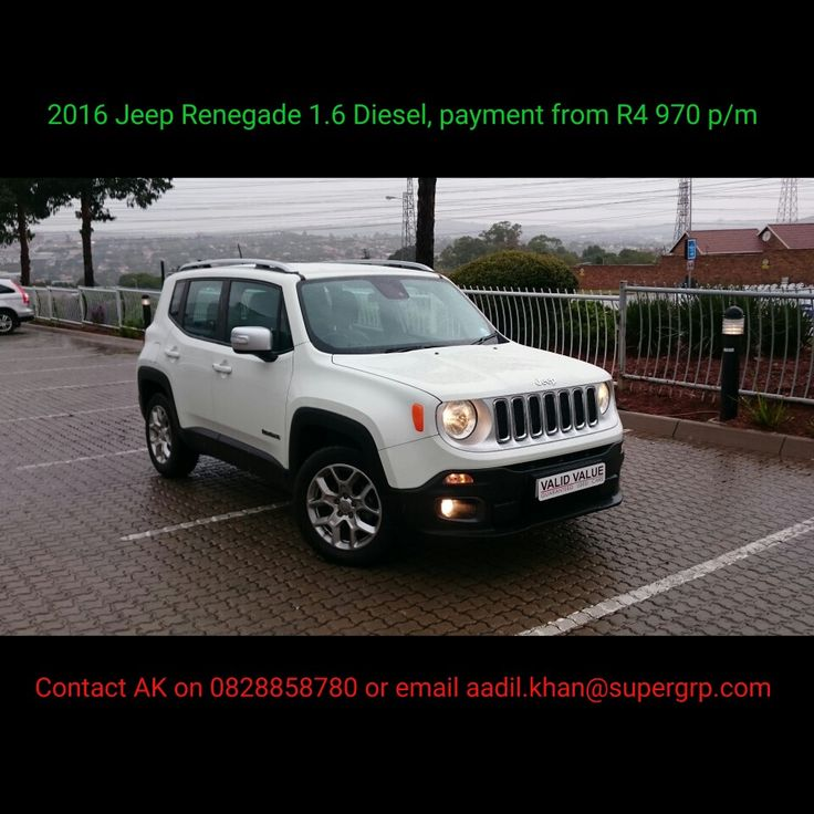 2016 #Jeep #Renegade 1.6 #Diesel for sale at R339,900!!  Contact me for all your #new #used #preowned #demo #cars #bakkies #sedans #hatchbacks #SUV #Coupe ALL MAKES AND MODELS! I have over 1,500 cars available in our group!   #Finance available, #best prices for your trade in, I #deliver across SA!   #Refer clients for my cars and I will #pay you #cash for each #successful deal!   0828858780 aadil.khan@supergrp.com www.edenvalenissan.co.za  www.deviantdealer.co.za